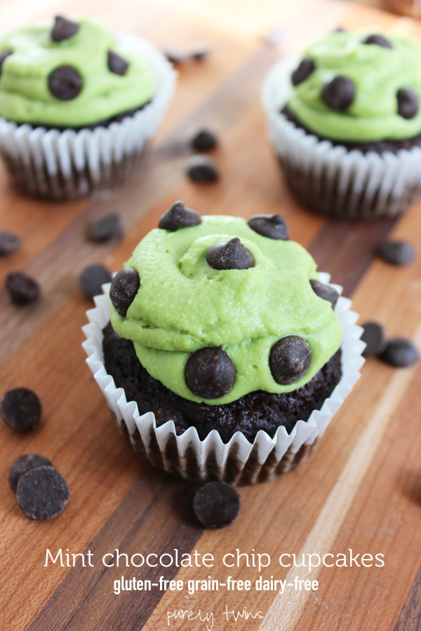 Mint chocolate chip cupcakes that are gluten-free grain-free and dairy-free. Secretly healthy cupcakes.