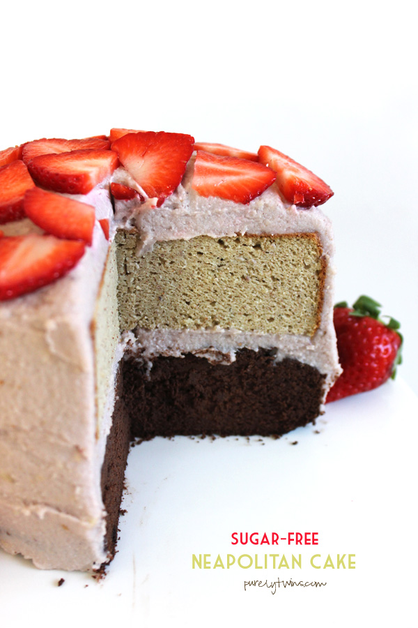 A real food neapolitan cake made without sugar, grains, gluten and dairy. Chocolate and vanilla cakes made from plantains instead of flour. No added sugar layered cake. A perfect dessert to enjoy when you need a low sugar treat.