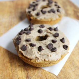 4 ingredient protein chocolate chip plantain donuts for two (grain-free, egg-free, no sugar)