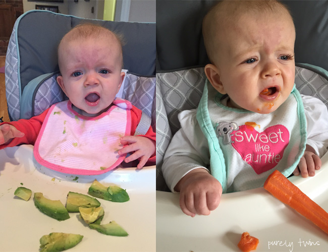 Baby led eating avocado and carrots.