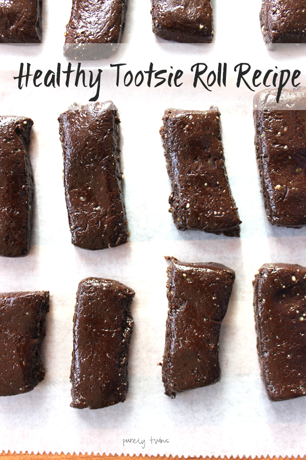 Delicious chocolately homemade tootsie rolls made without corn syrup! A real food dessert made in under 5 minutes using 5 ingredients!