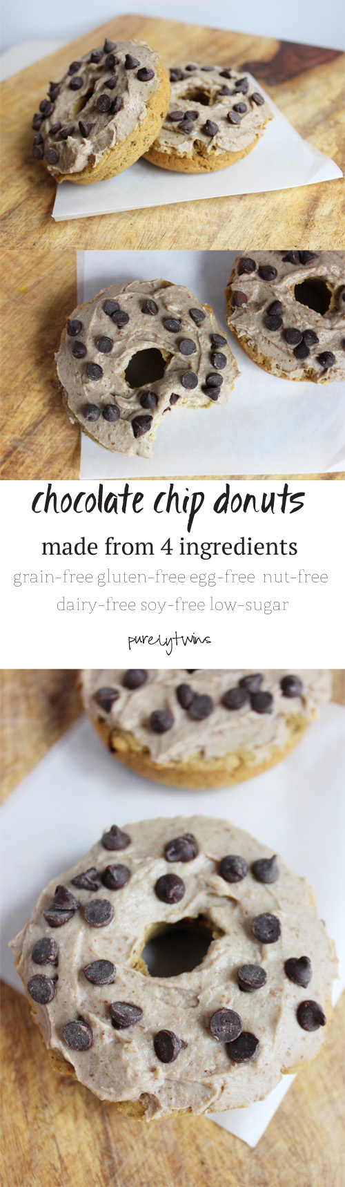 how to make healthy 4 ingredient protein packed chocolate chip donuts for two! || purleytwins.com #grainfree #donuts #vegan