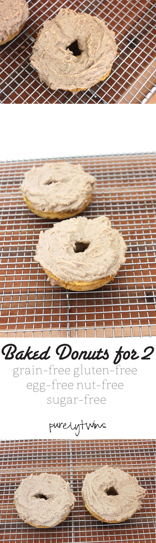 Healthy sugar-free grain-free vegan protein baked donuts that serves 2! You won't believe that these donuts are made from just 3 ingredients topped with a protein coconut oil frosting || purelytwins.com