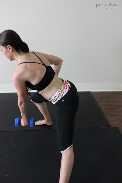 Side lunge for great leg workout wearing fabletics workout clothes