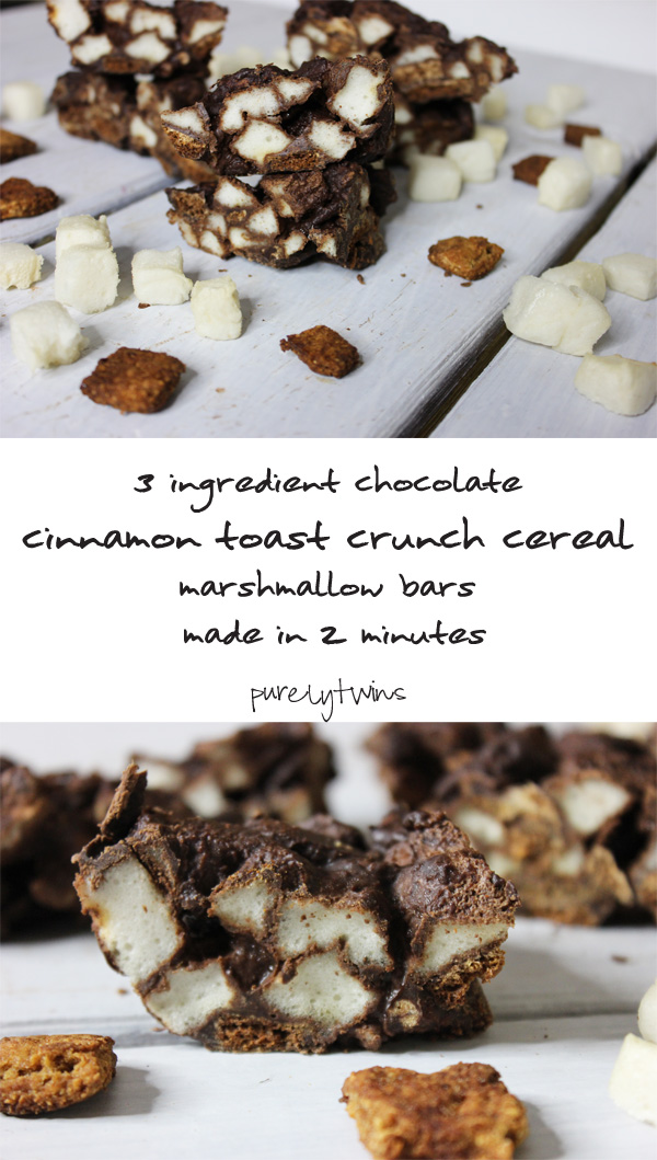 3 ingredient healthy easy chocolate cinnamon toast crunch cereal marshmallow bar recipe that is free of gluten, grains, eggs, dairy. #paleo |purelytwins.com