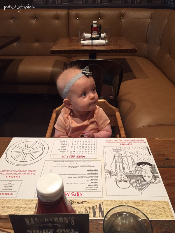 7 month old sitting in high chair at restaurant for first time #newparents #newmom #firstbaby || purelytwins.com