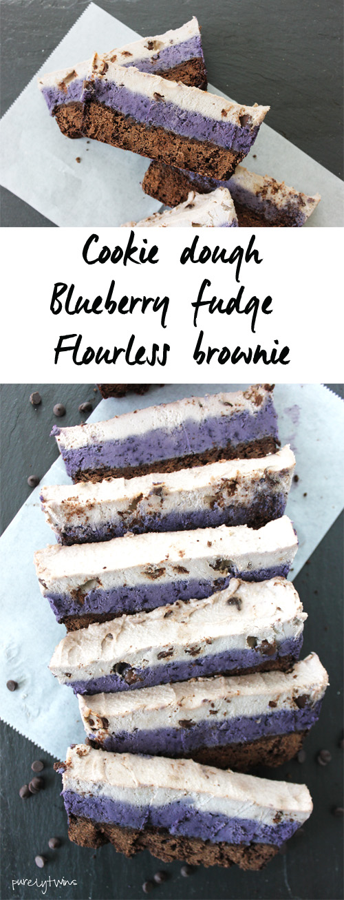 Semi-raw gluten-free grain-free vegan chocolate chip cookie dough blueberry fudge brownies. @purelytwins