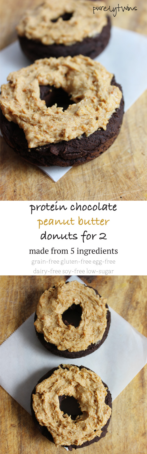 Healthy baked chocolate peanut butter donuts that you won't believe are baked not fried. Made from 5 simple ingredients. These donuts are free of gluten, grains, dairy, eggs and sugar!