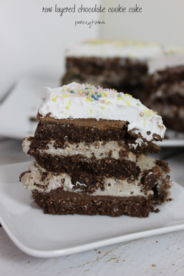 Looking for a deliciously healthy raw cake that is made from simple healthly ingredients this cake is for you. The ultimate layered flourless chocolate cookie dough unbaked cake with homemade whipped cream || purelytwins.com #rawdessert #glutenfree #healthydessert #dairyfree #vegan