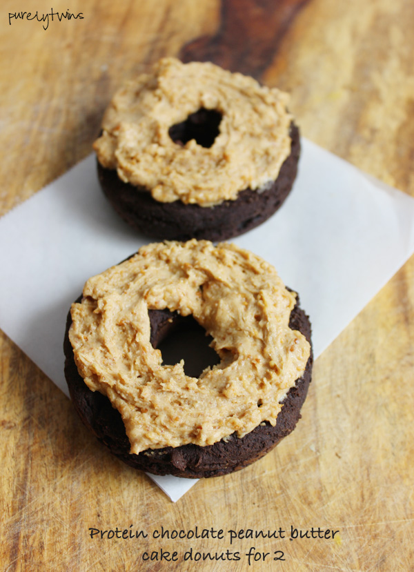 Low sugar grain-free vegan chocolate peanut butter baked protein donuts made from plantains and hemp protein. Healthy breakfast option. Serves 2. Purelytwins.com