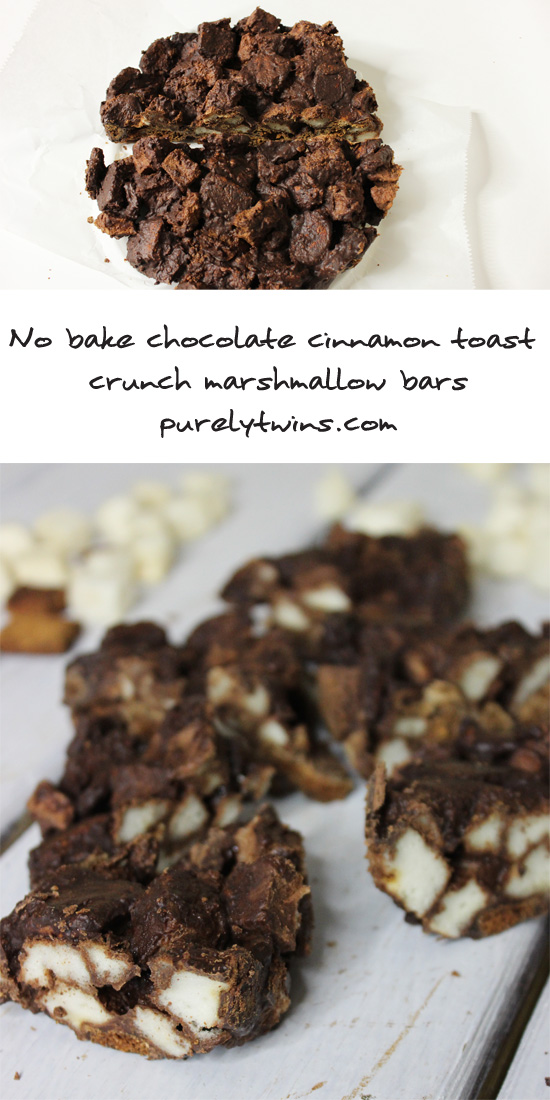 No bake #glutenfree #grainfree #vegan chocolate marshmallow cinnamon toast crunch bar recipe |purelytwins.com