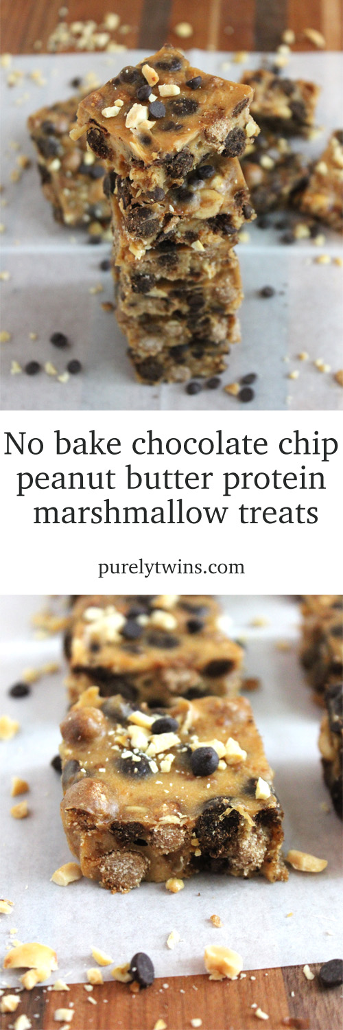 Peanut butter no bake protein marshmallow treat #glutenfree #grainfree | purelytwins.com