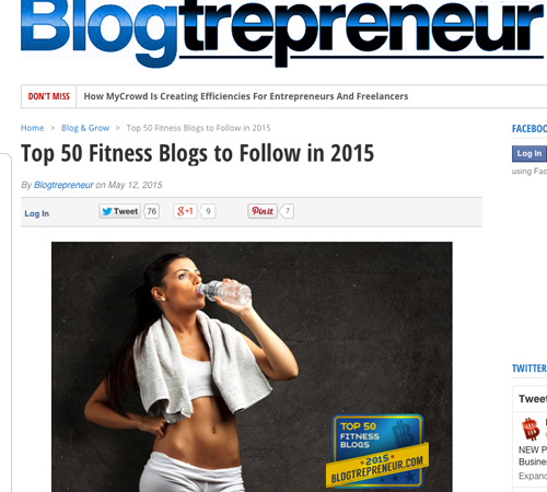 top fitness blog to follow