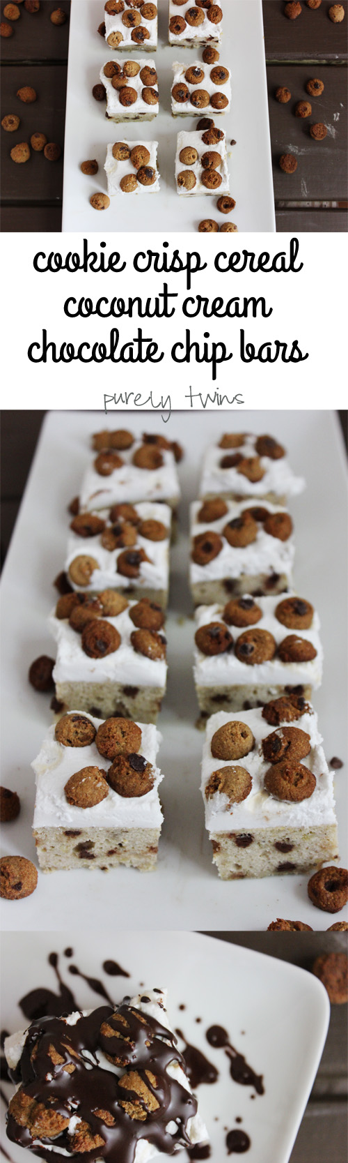Grain-free low sugar chocolate chip plantain bars with dairy free coconut whipped cream topped with homemade gluten-free vegan paleo cookie crisp cereal | purelytwins.com