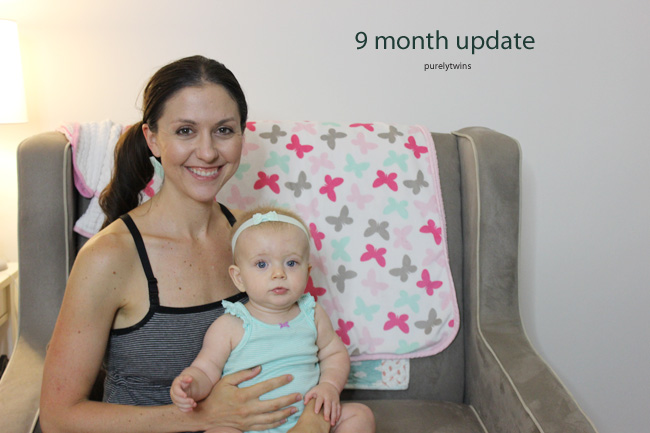9 month update sharing day in the life with Madison ||purelytwins.com #babygirl #9monthold #lifewithbaby