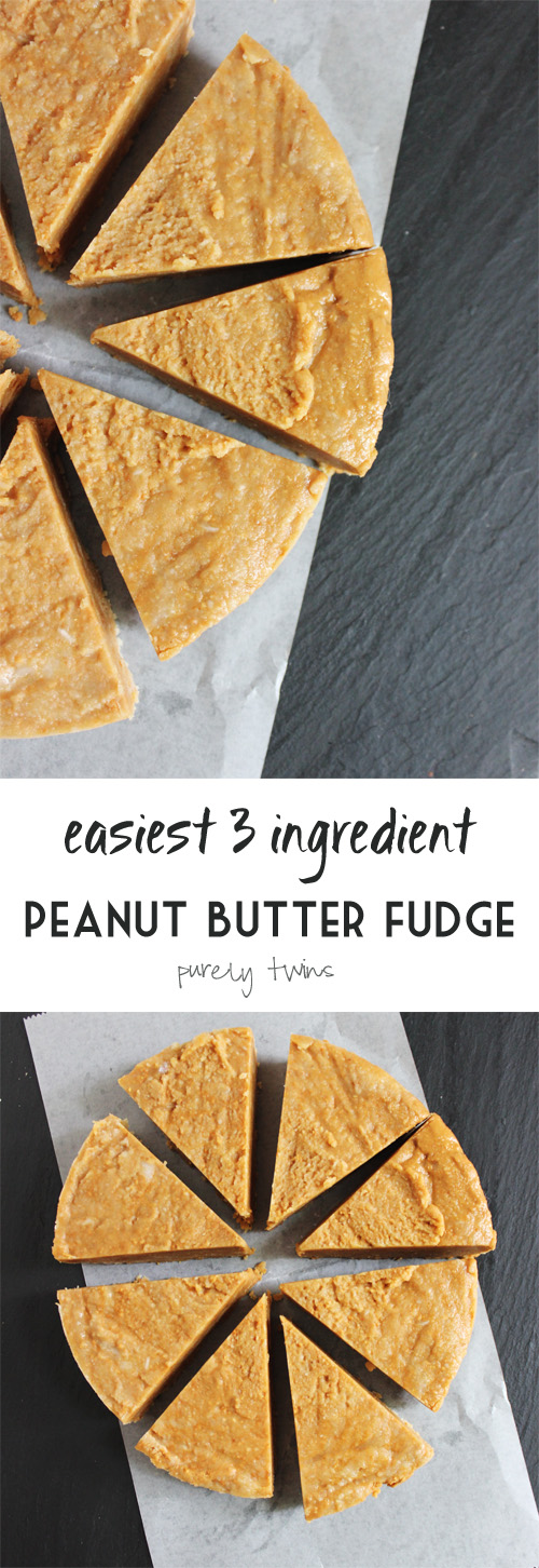 3 ingredient healthy peanut butter fudge made in minutes. Rich and creamy. Oh so heavenly.