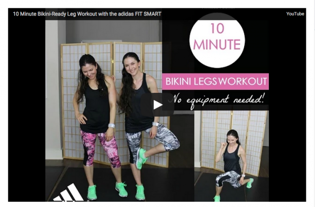 10 minute bikini leg workout. Adidas MiCoach FIT SMART