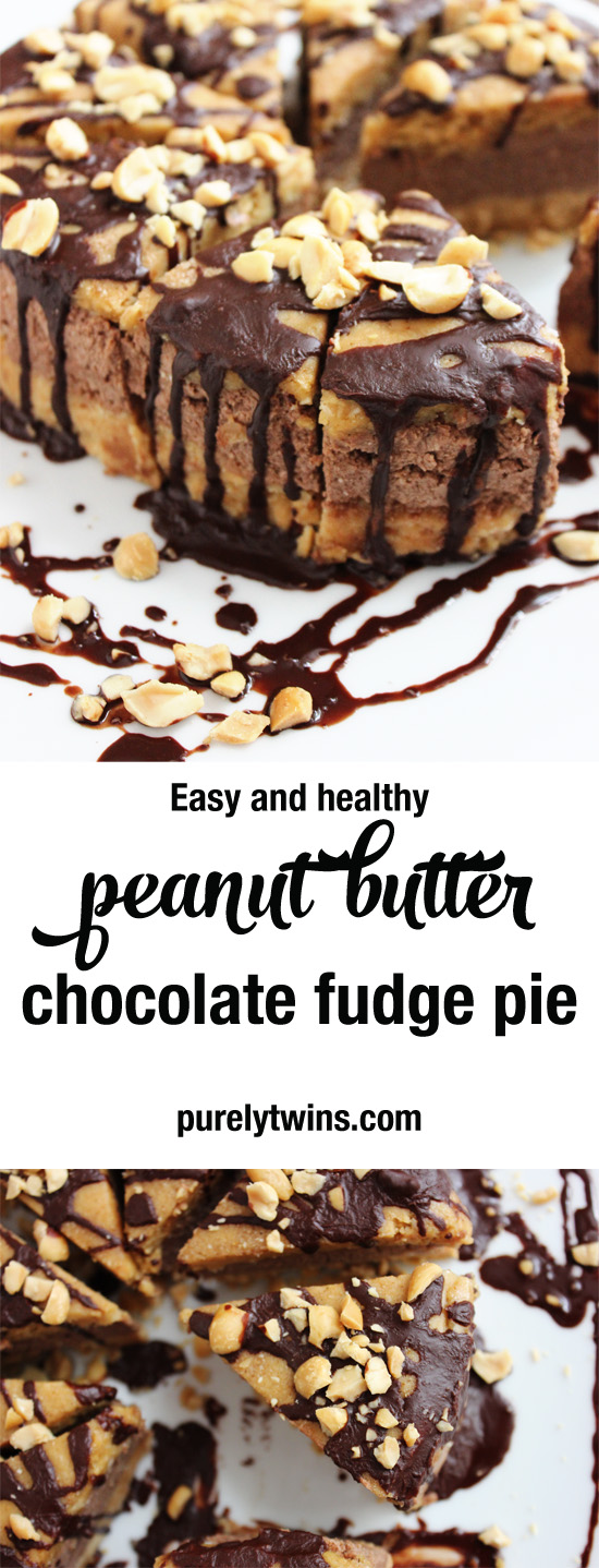 Easy healthy peanut butter fudge chocolate pie made from real ingredients. #glutenfree #grainfree #dairyfree #lowsugar | purelytwins.com
