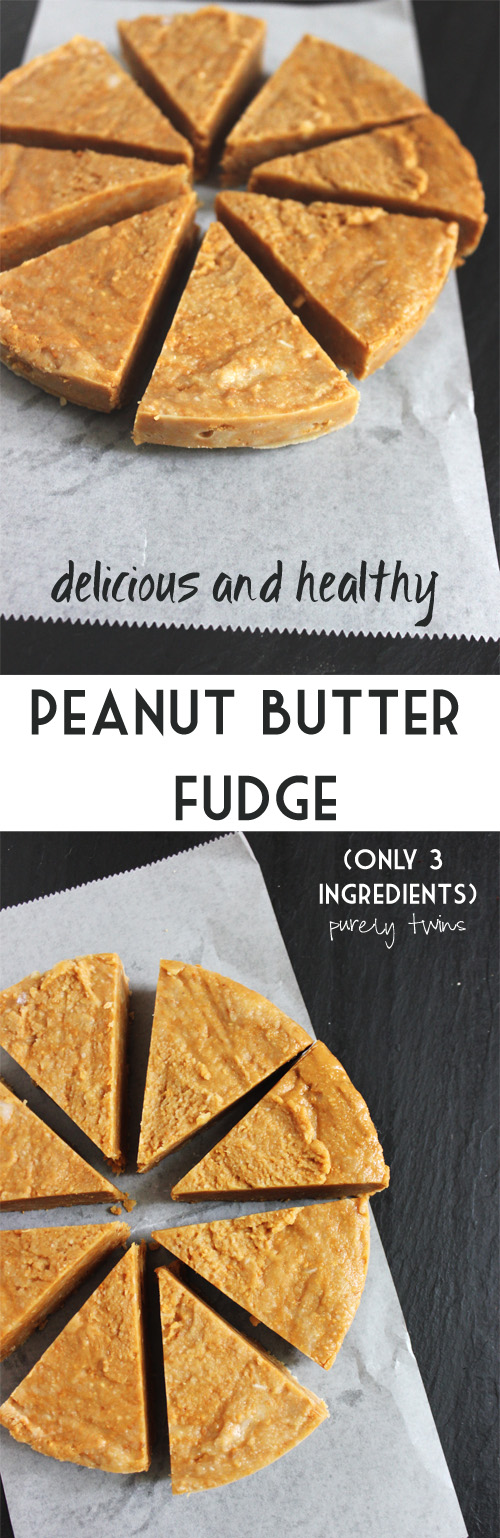 the BEST peanut butter FUDGE that is quick healthy and made from just 3 ingredients #dairyfree #vegan #glutenfree #grainfree || www.purelytwins.com