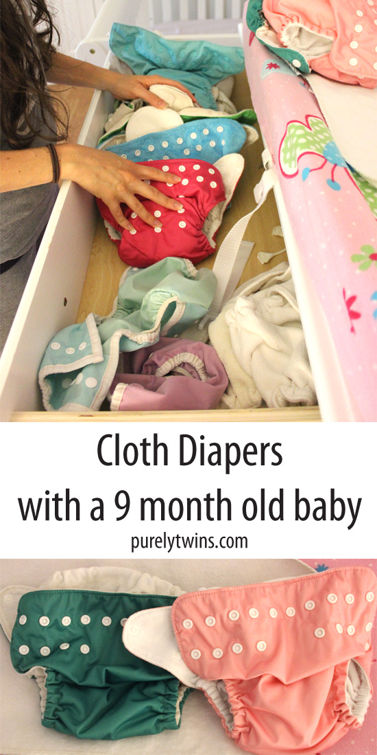 How to cloth diaper a 9 month old baby. A new mom sharing her journey of using natural cloth diapers. How to clean them and deal with poppy diapers. | purelytwins.com