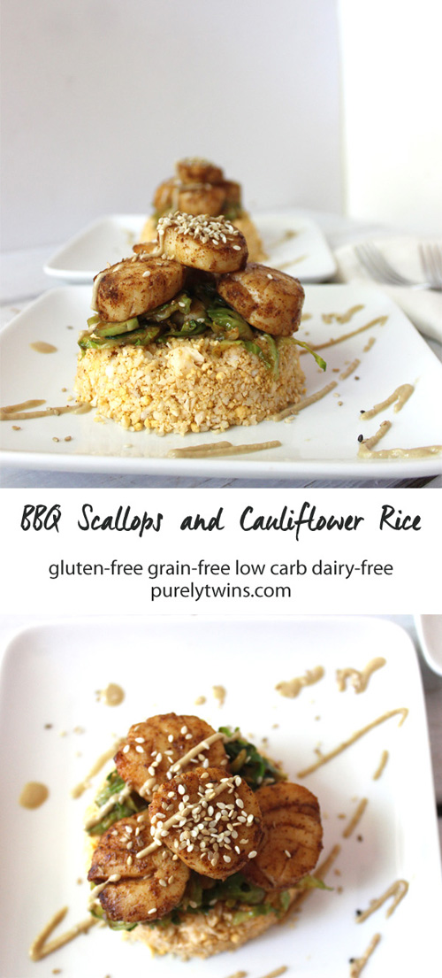 Looking for a tasty nutritious dinner that doesn't take hours to make? BBQ scallops with cauliflower rice and brussel sprouts. Healthy quick dinner for two. | purelytwins.com #glutenfree #grainfree #Lowcarb