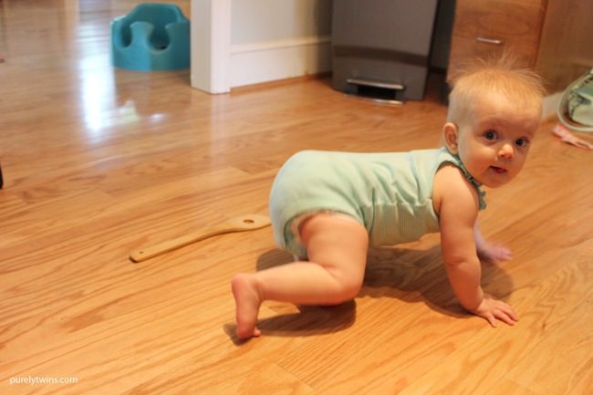 Madison on the move. Crawling all over the hous. Baby proofing the house. New mom life \\purelytwins.com