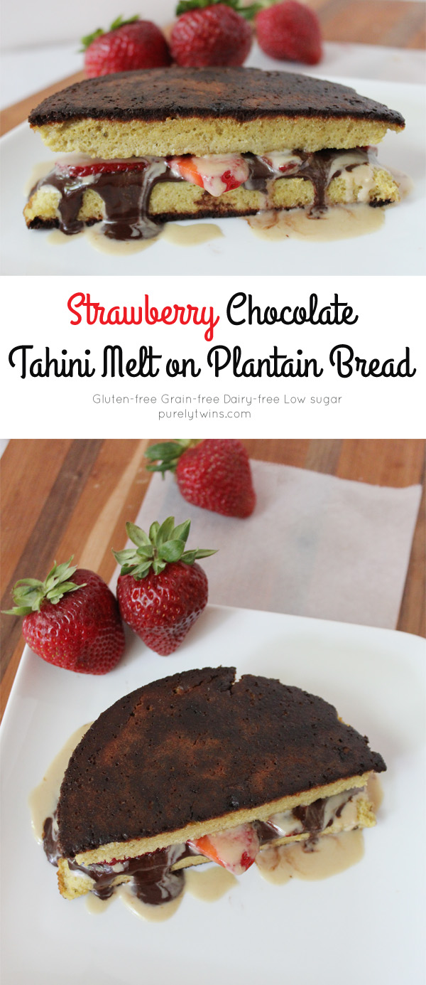 Grain-free dairy-free gluten-free low sugar chocolate tahini sandwich with strawberries. A healthy snack anytime of the day. Made on our 3 ingredient paleo plantain bread.| purelytwins.com