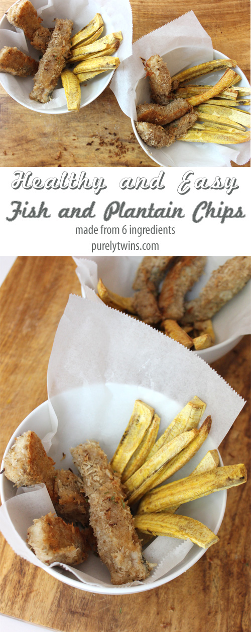 Healthy and real food fish and chips dinner recipe. Paleo. Grain-free. Gluten-free. The best part is the coconut coated fish with plantain chips. Serve this and amazing dinner to your family. | purelytwins.com