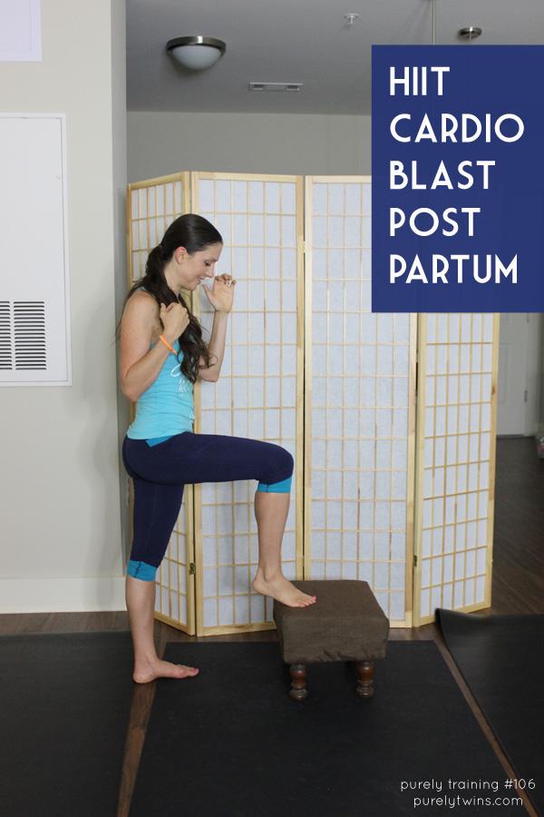 HIIT cardio indoor blast workout for post partum moms. Diastasis recti workout.