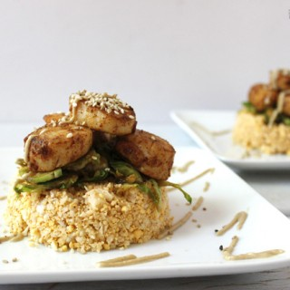 Bbq scallops with raw cauliflower rice. Low carb dinner for two.