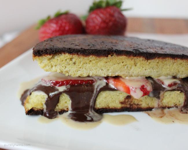Strawberry chocolate tahini melt on plantain bread. Real food. Low sugar. Paleo.