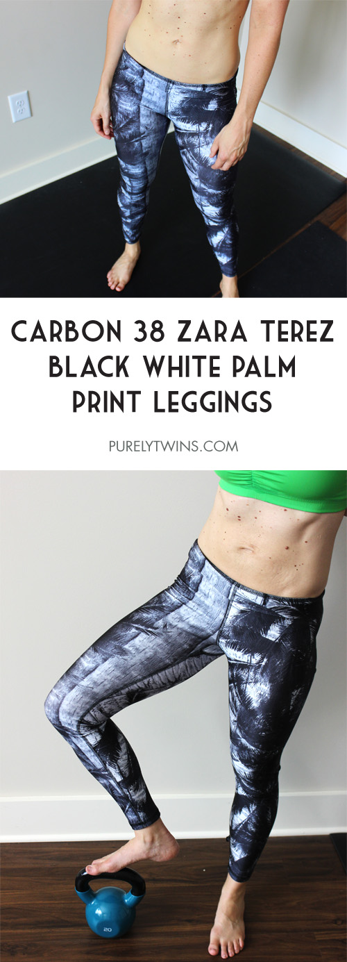 Carbon38 leggings from the Zara Terez black white palm print review. | purelytwins.com