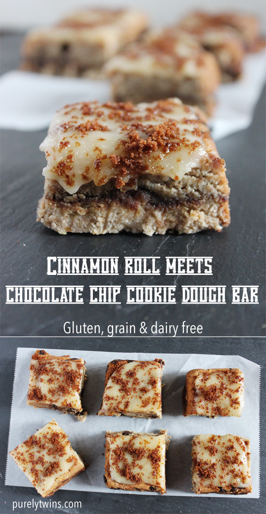 Chocolate chip cookie dough bar mixed with cinnamon and coconut butter. A gluten, grain, dairy and egg-free recipe. Cinnamon dough cookie bar recipe made with coconut flour and monk fruit.