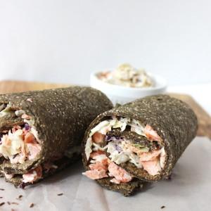 Grain-free gluten-free paleo coho salmon with dairy-free coleslaw. inside a chia seed wrap. | purelytwins.com
