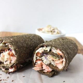 Healthy lunch idea – salmon coleslaw wrap (gluten-free, dairy-free)