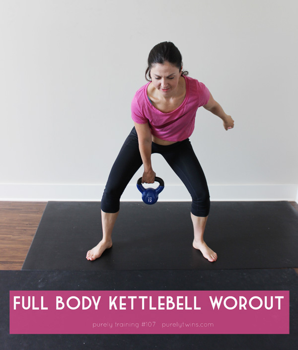 Kettlebell home workout that burns fat. 24 minute strength training workout. | purelytwins.com