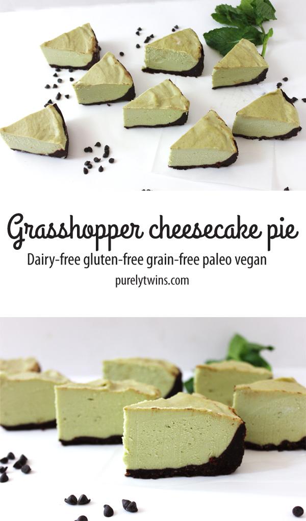 No bake grasshopper cheesecake pie. Paleo. Vegan. Raw. Gluten-fre.