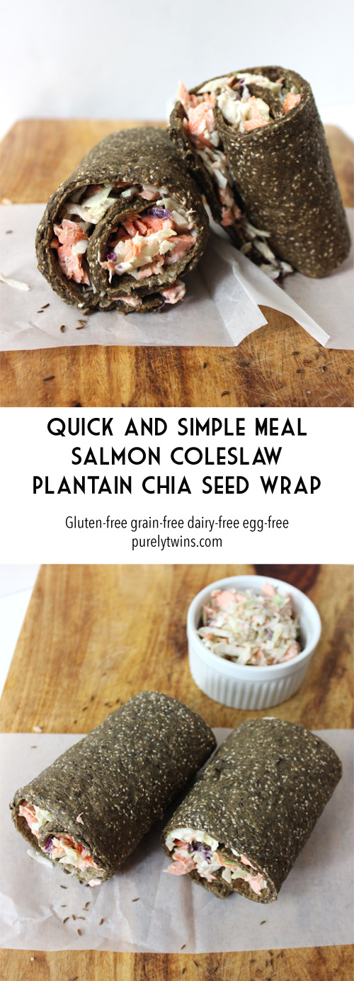 Looking for a quick and healthy lunch? Try this simple meal of salmon coleslaw plantain chia seed wrap. Gluten free. Paleo. Dairy free. | purelytwins.com