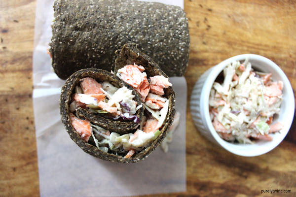 Salmon coleslaw wrap (gluten-free, dairy-free, paleo)