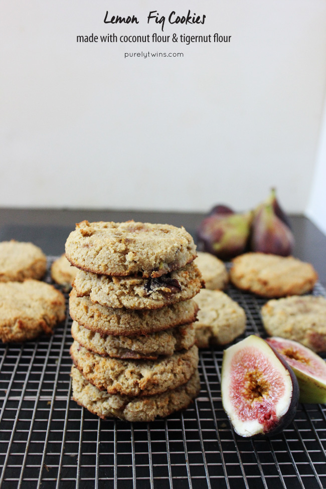 The BEST soft, dense secretly healthy Lemon Fig Cookies. These cookies are made with coconut flour and tigernut flour. Grain-free gluten-free dairy-free starch-free. || purelytwins.com