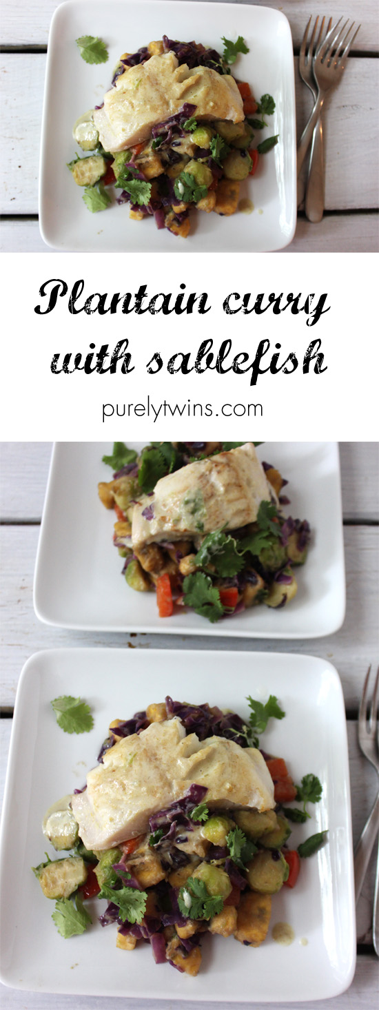 Easy dairy-free gluten-free FISH CURRY-dinner served with plantains and veggies using sizzlefish sablefish \\ www.purelytwins.com