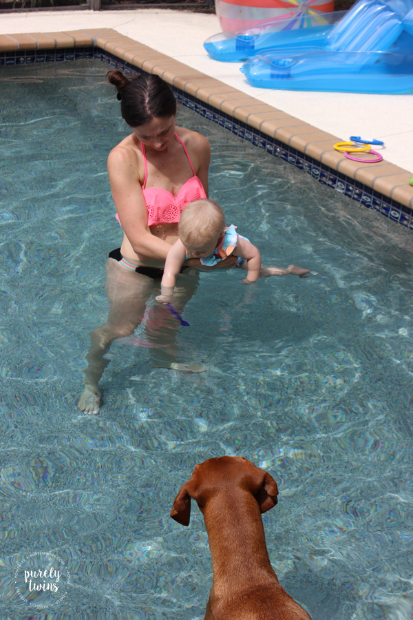 Madison one years old and learning how to swim in the pool with her mom. Update on life with an one year old. \\ www.purelytwins.com
