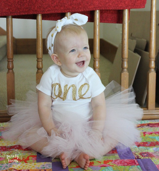 One year birthday girls pink and gold outfit from bespokedco esty shop