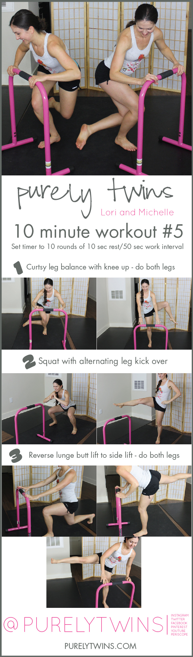 Barre inspired home workout using an equalizer. 10 minute workout for busy ladies to get fit at home.| purelytwins.com