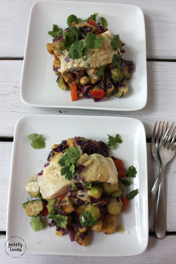 healthy dairy-free curry dish made with sizzlefish sablefish and plantains