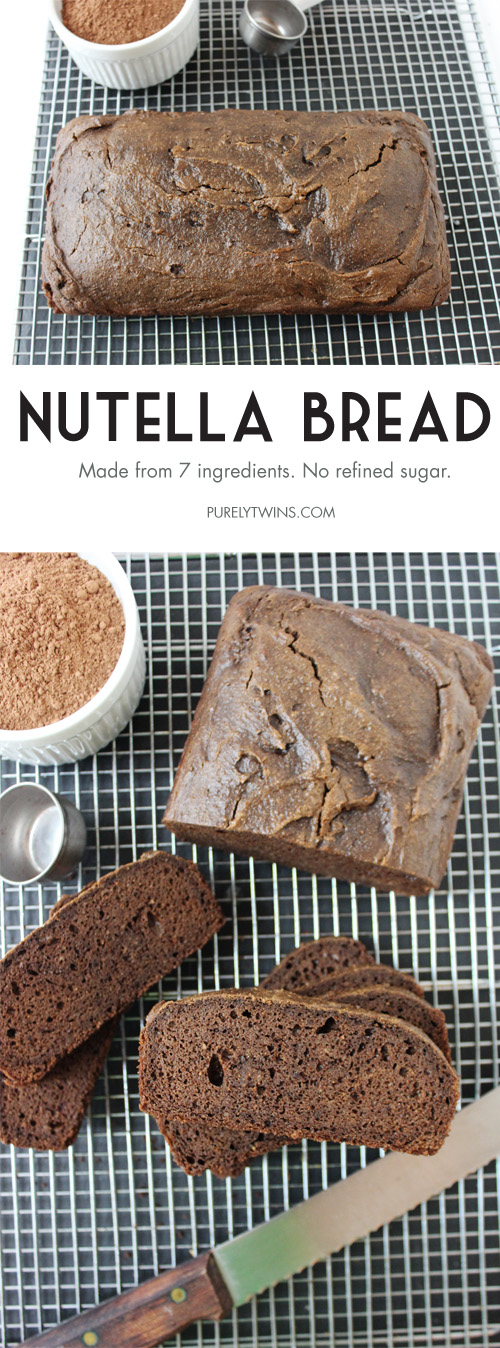 Nutella bread. No refined sugar. Just 7 ingredients to make this easy healthy bread recipe. | purelytwins.com #glutenfree #grainfree