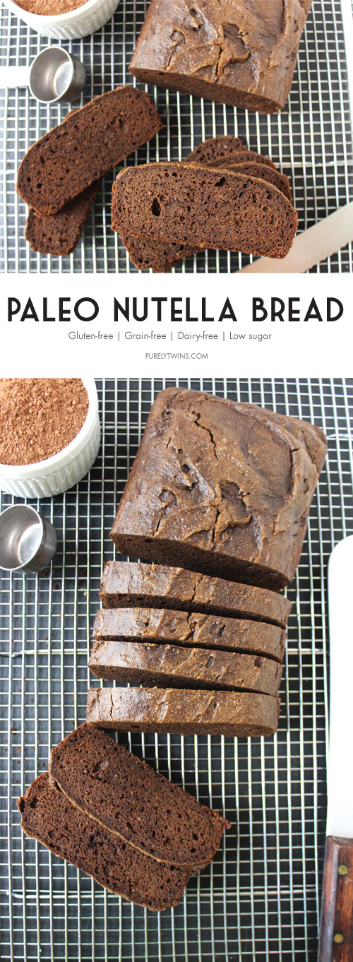 Paleo nutella bread recipe. Low sugar bread made with no flour.