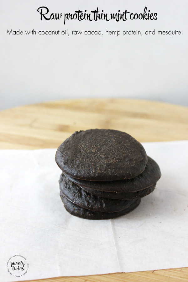 Protein thin mint cookies made with raw cacao, coconut oil, hemp protein, stevia and mequite. A cookie that burns fat. | purelytwins.com