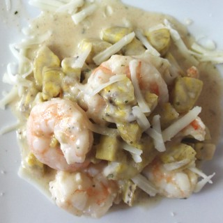 Plantain shrimp mac-n-cheese dinner recipe