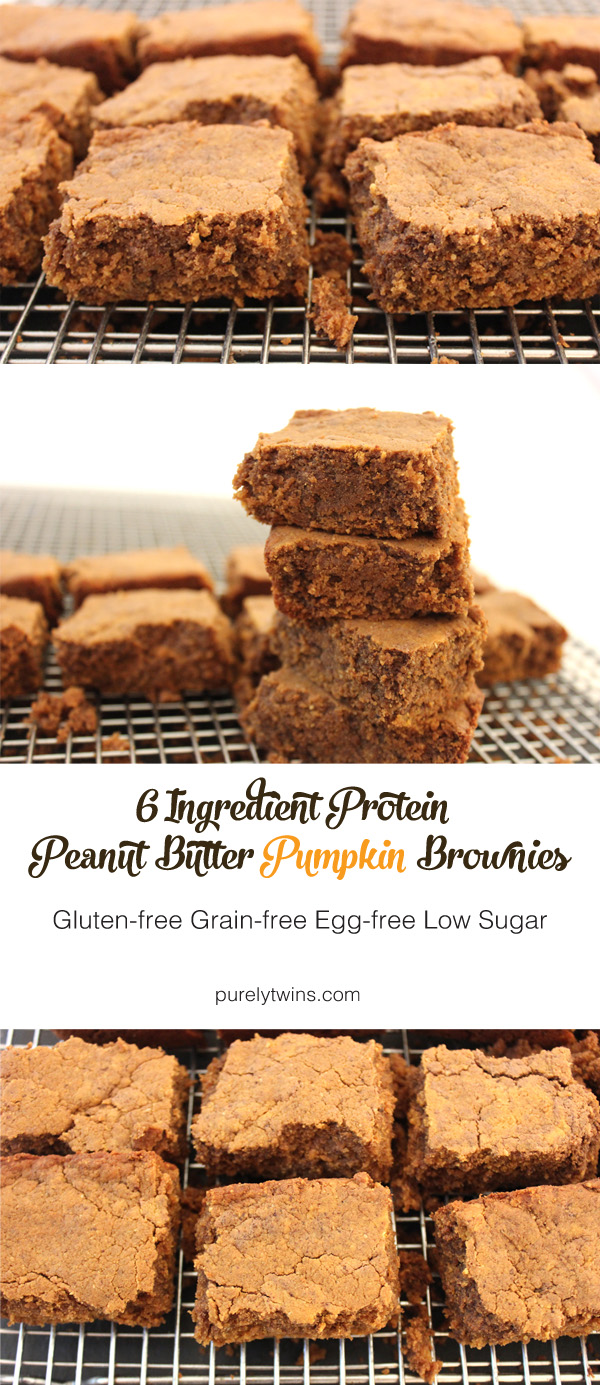 6 ingredient healthy peanut butter protein pumpkin brownies. Vegan and gluten-free recipe, plus low in sugar. If you love peanut butter, chocolate, and pumpkin, you'll love these brownies. They are easy to make too! | purelytwins.com